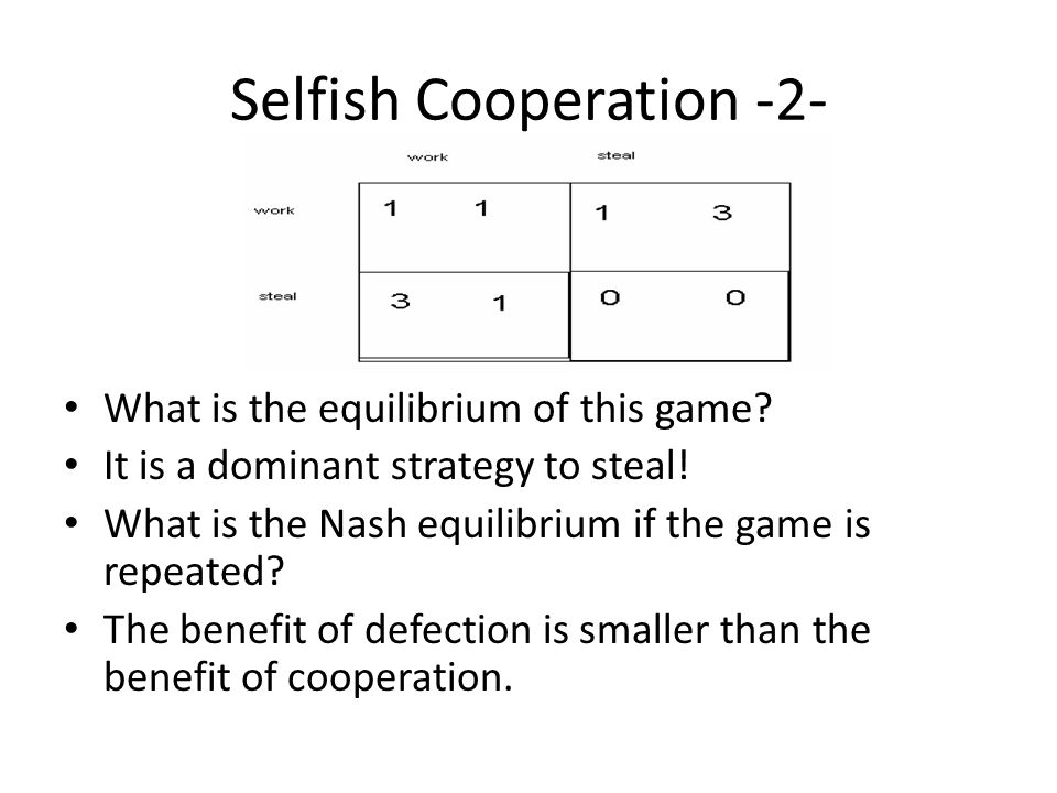 Selfish Cooperation -2- What is the equilibrium of this game.
