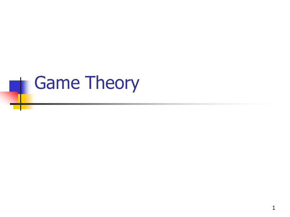 1 Game Theory
