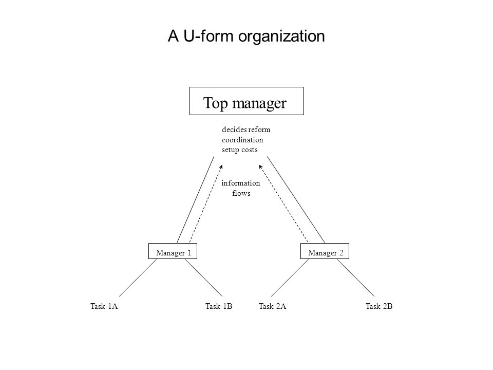 A U-form organization Top manager decides reform coordination setup costs Manager 1Manager 2 Task 1ATask 1BTask 2ATask 2B information flows