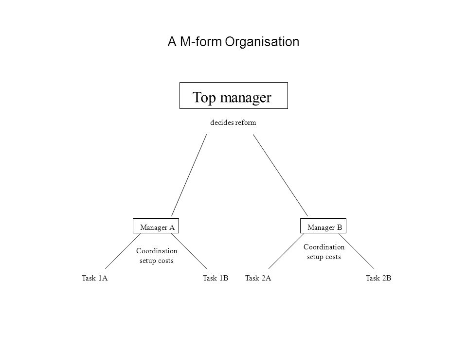 A M-form Organisation Top manager decides reform Manager AManager B Task 1ATask 1BTask 2ATask 2B Coordination setup costs Coordination setup costs