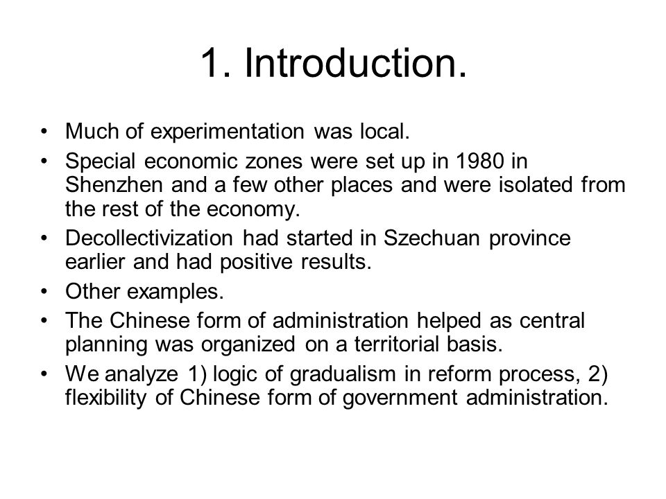 1. Introduction. Much of experimentation was local.