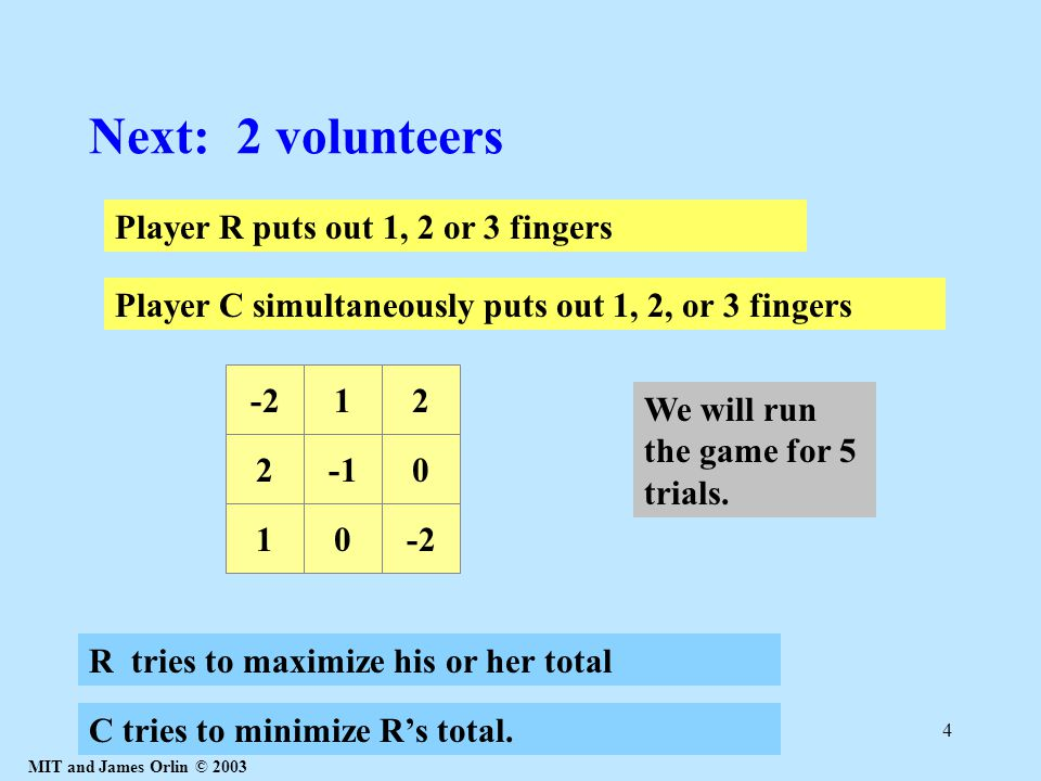 MIT and James Orlin © 2003 4 Next: 2 volunteers Player R puts out 1, 2 or 3 fingers 20 10-2 12 R tries to maximize his or her total C tries to minimiz