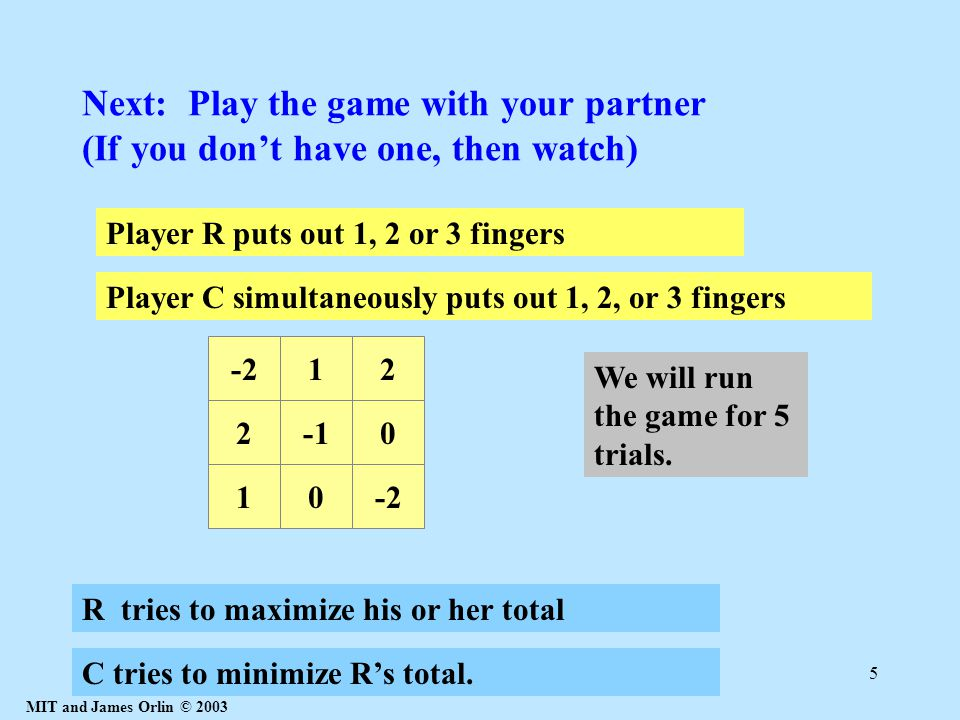 MIT and James Orlin © 2003 5 Next: Play the game with your partner (If you don't have one, then watch) Player R puts out 1, 2 or 3 fingers 20 10-2 12 R tries to maximize his or her total C tries to minimize R's total.