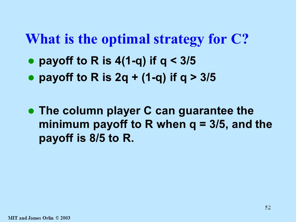 MIT and James Orlin © 2003 52 What is the optimal strategy for C.