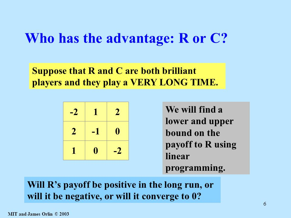 MIT and James Orlin © 2003 6 Who has the advantage: R or C.