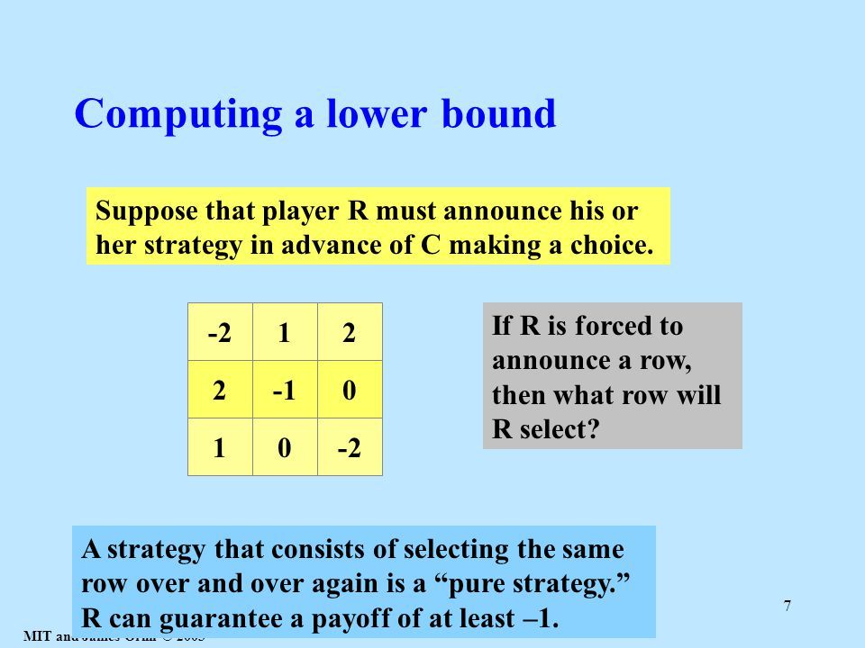 MIT and James Orlin © 2003 7 Computing a lower bound 20 10-2 12 Suppose that player R must announce his or her strategy in advance of C making a choice.