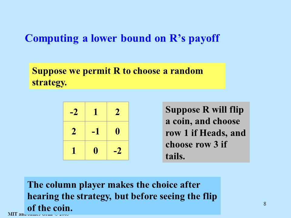 MIT and James Orlin © 2003 8 Computing a lower bound on R's payoff 20 10-2 12 Suppose we permit R to choose a random strategy.