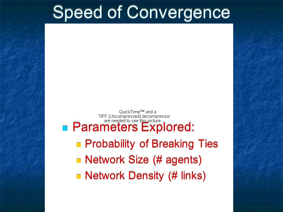 Speed of Convergence Parameters Explored: Probability of Breaking Ties Network Size (# agents) Network Density (# links) Parameters Explored: Probability of Breaking Ties Network Size (# agents) Network Density (# links)