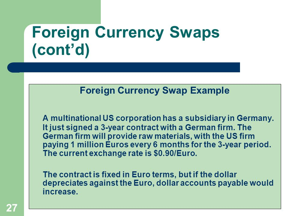 26 Foreign Currency Swaps (cont'd) Cash flows at maturity: US $ Principal FX Principal Party 1Party 2
