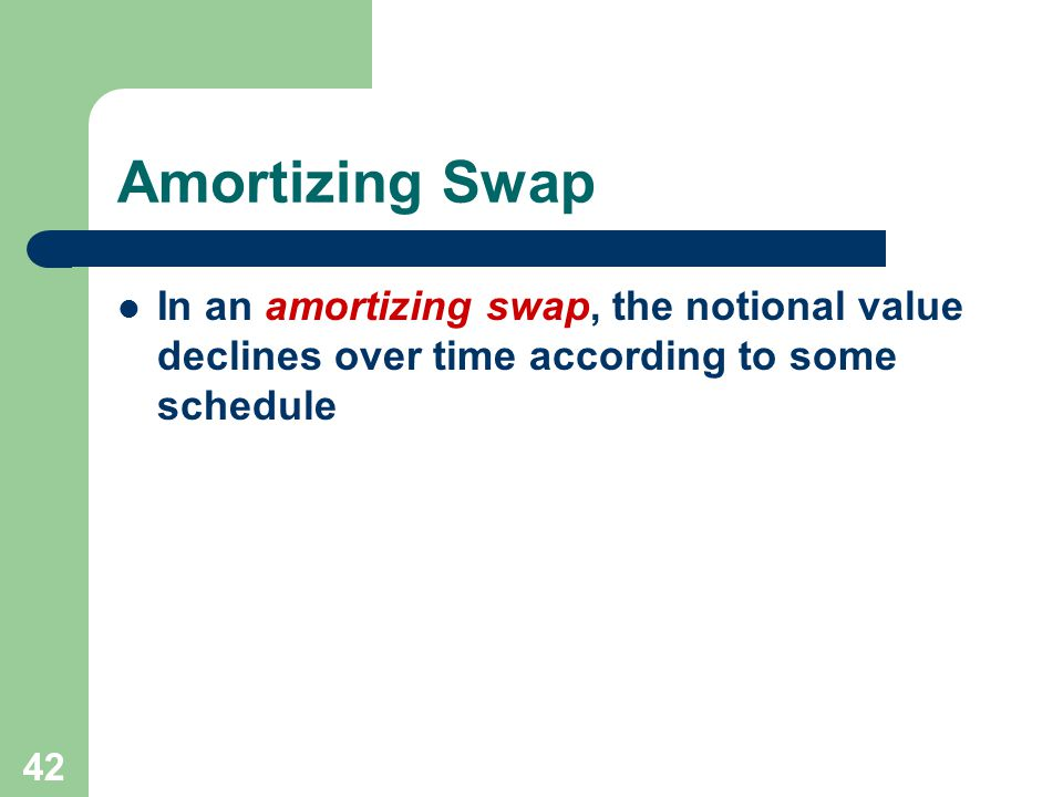 41 Floating for Floating Swap In a floating for floating swap, both parties pay a floating rate, but with different benchmark indices