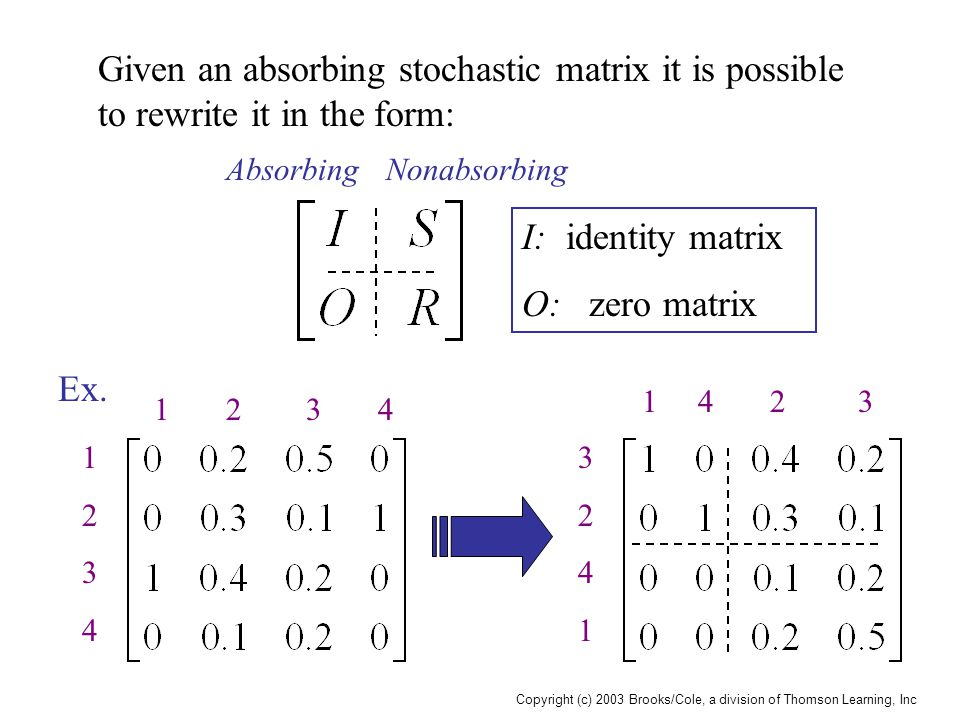 Copyright (c) 2003 Brooks/Cole, a division of Thomson Learning, Inc Given an absorbing stochastic matrix it is possible to rewrite it in the form: AbsorbingNonabsorbing I: identity matrix O: zero matrix Ex.