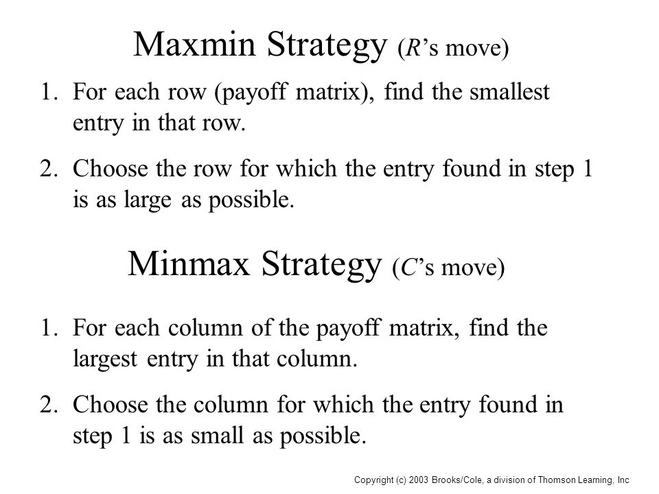 Copyright (c) 2003 Brooks/Cole, a division of Thomson Learning, Inc Maxmin Strategy (R's move) 1.For each row (payoff matrix), find the smallest entry