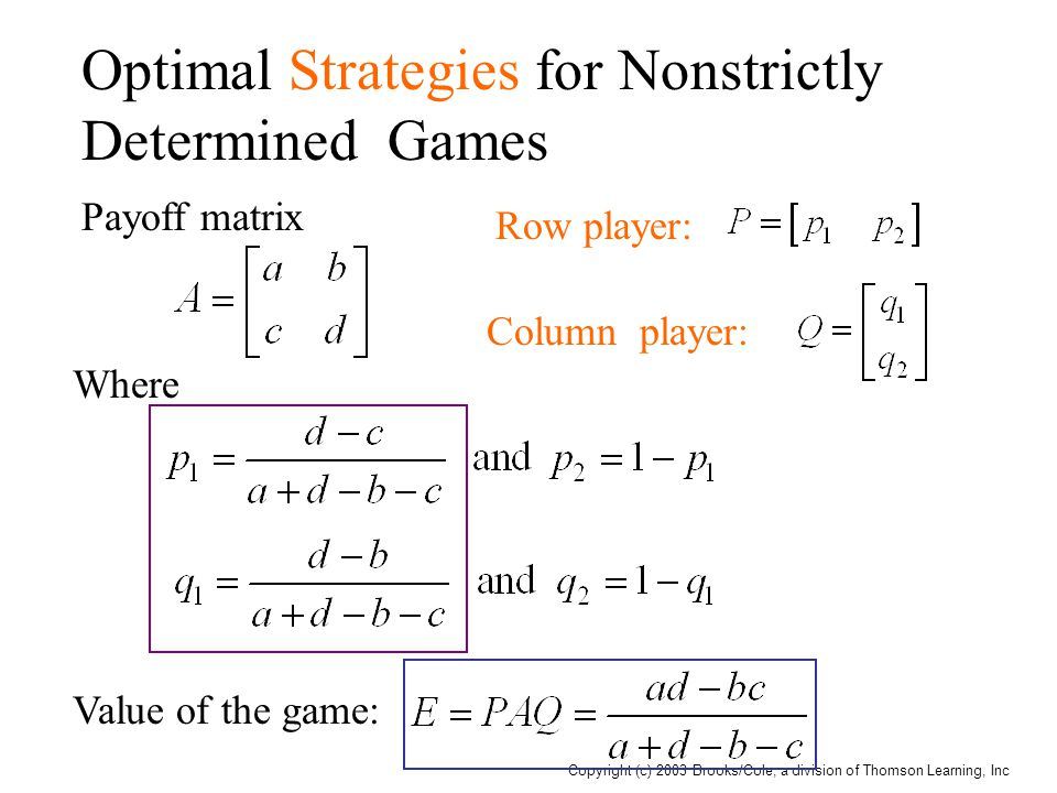 Copyright (c) 2003 Brooks/Cole, a division of Thomson Learning, Inc Optimal Strategies for Nonstrictly Determined Games Payoff matrix Row player: Column player: Where Value of the game: