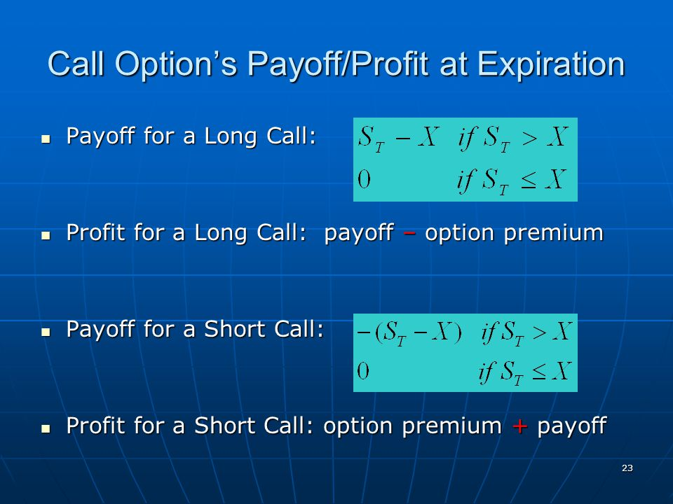23 Call Option's Payoff/Profit at Expiration Payoff for a Long Call: Payoff for a Long Call: Profit for a Long Call: payoff – option premium Profit fo