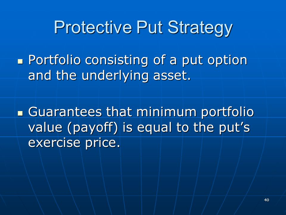 40 Protective Put Strategy Portfolio consisting of a put option and the underlying asset. Portfolio consisting of a put option and the underlying asse