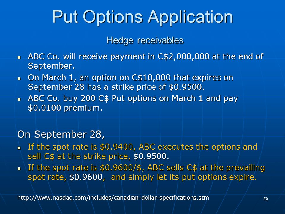 Put Options Application Hedge receivables ABC Co. will receive payment in C$2,000,000 at the end of September. ABC Co. will receive payment in C$2,000