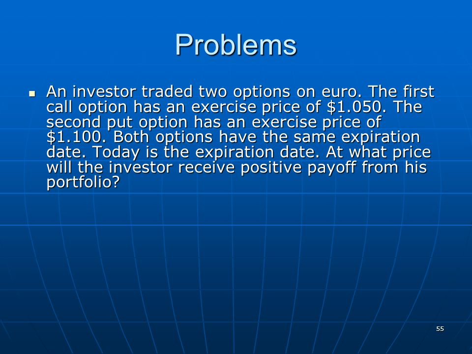 55 Problems An investor traded two options on euro. The first call option has an exercise price of $1.050. The second put option has an exercise price