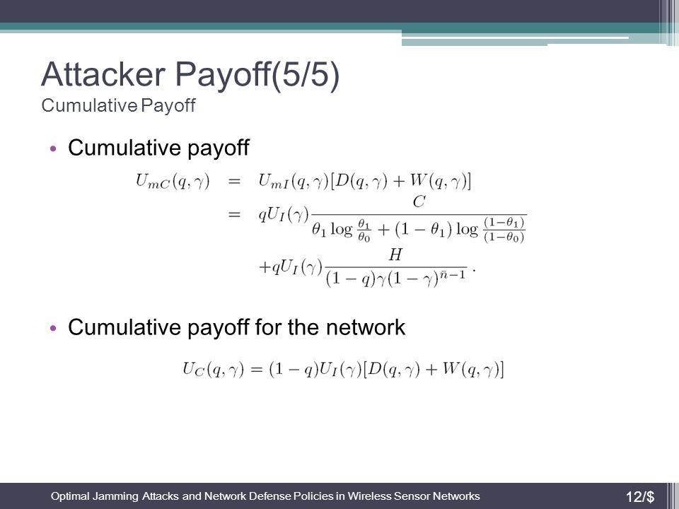Attacker Payoff(5/5) Cumulative Payoff Cumulative payoff Cumulative payoff for the network Optimal Jamming Attacks and Network Defense Policies in Wir