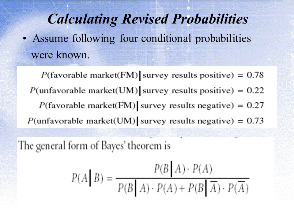 Calculating Revised Probabilities Assume following four conditional probabilities were known.