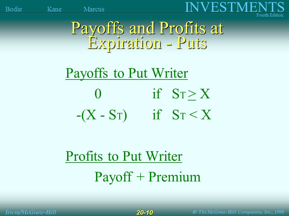  The McGraw-Hill Companies, Inc., 1999 INVESTMENTS Fourth Edition Bodie Kane Marcus Irwin/McGraw-Hill 20-10 Payoffs to Put Writer 0if S T > X -(X - S T )if S T < X Profits to Put Writer Payoff + Premium Payoffs and Profits at Expiration - Puts