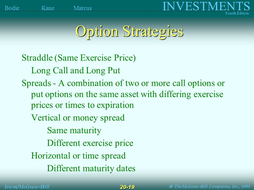  The McGraw-Hill Companies, Inc., 1999 INVESTMENTS Fourth Edition Bodie Kane Marcus Irwin/McGraw-Hill 20-19 Straddle (Same Exercise Price) Long Call and Long Put Spreads - A combination of two or more call options or put options on the same asset with differing exercise prices or times to expiration Vertical or money spread Same maturity Different exercise price Horizontal or time spread Different maturity dates Option Strategies