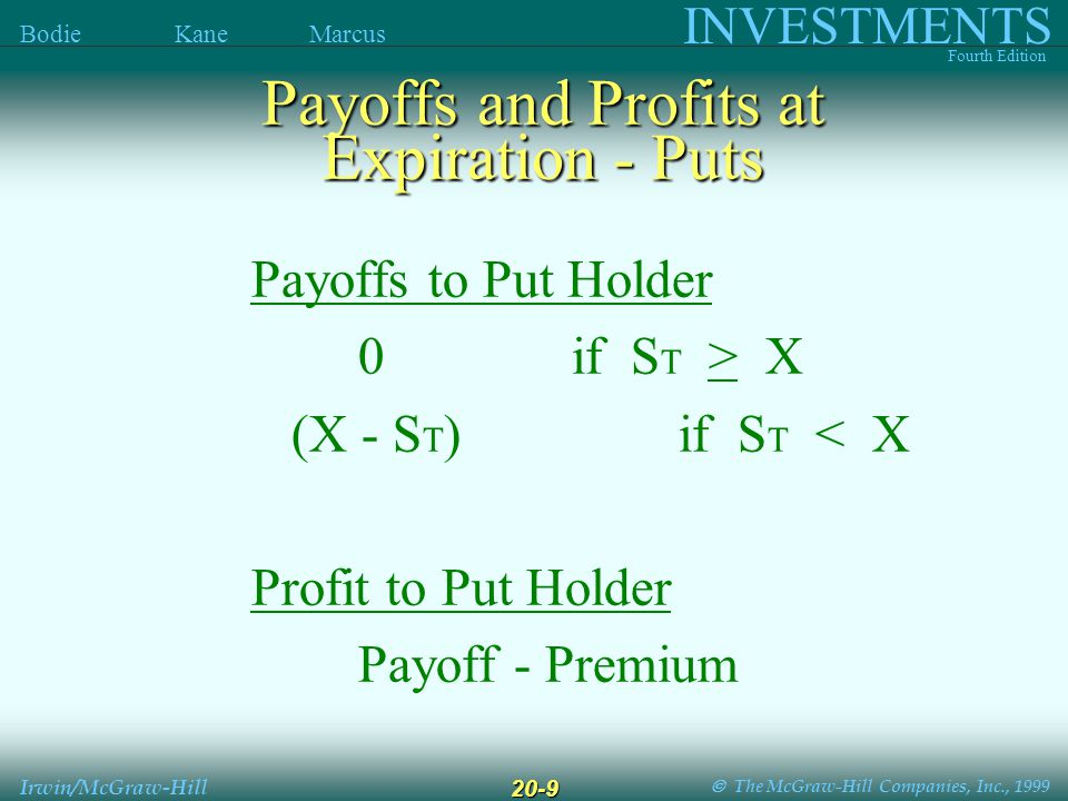  The McGraw-Hill Companies, Inc., 1999 INVESTMENTS Fourth Edition Bodie Kane Marcus Irwin/McGraw-Hill 20-9 Payoffs to Put Holder 0if S T > X (X - S T ) if S T < X Profit to Put Holder Payoff - Premium Payoffs and Profits at Expiration - Puts