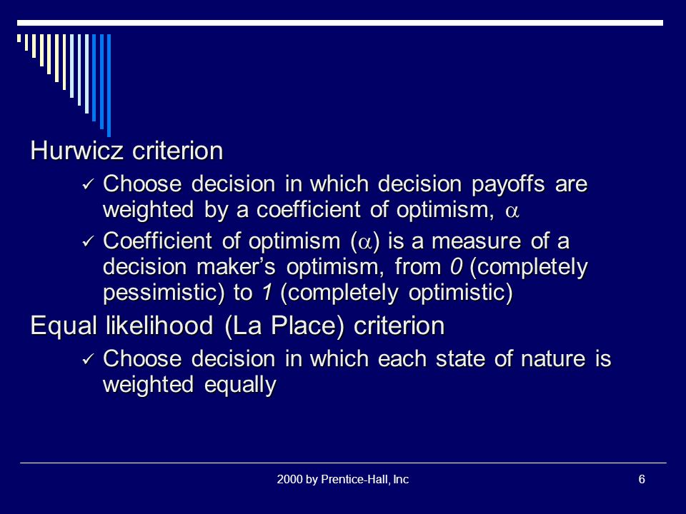 2000 by Prentice-Hall, Inc6 Hurwicz criterion Choose decision in which decision payoffs are weighted by a coefficient of optimism,  Choose decision i