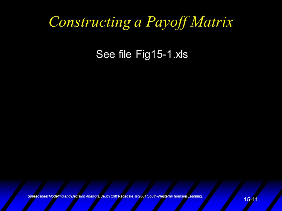 Spreadsheet Modeling and Decision Analysis, 3e, by Cliff Ragsdale. © 2001 South-Western/Thomson Learning. 15-11 Constructing a Payoff Matrix See file