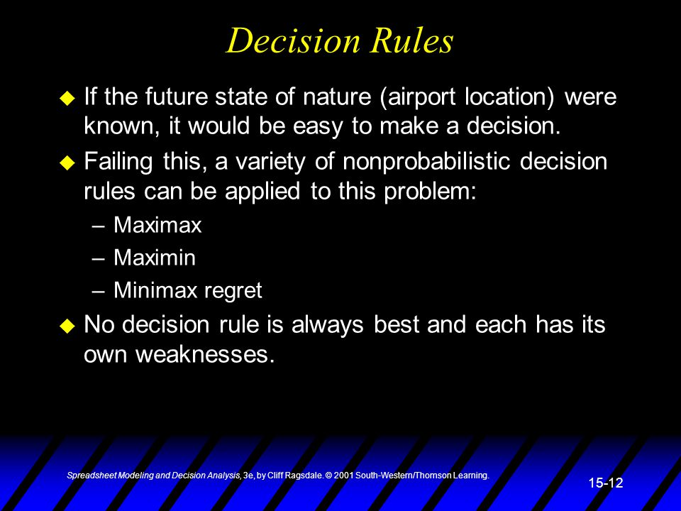 Spreadsheet Modeling and Decision Analysis, 3e, by Cliff Ragsdale. © 2001 South-Western/Thomson Learning. 15-12 Decision Rules u If the future state o
