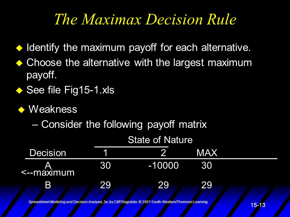 Spreadsheet Modeling and Decision Analysis, 3e, by Cliff Ragsdale. © 2001 South-Western/Thomson Learning. 15-13 The Maximax Decision Rule u Identify t