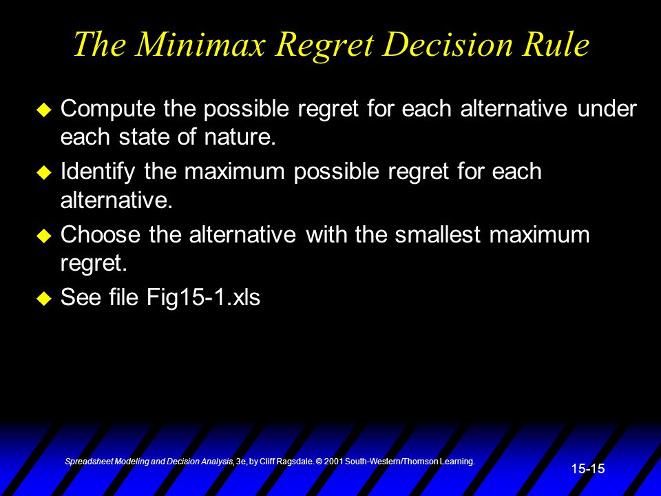 Spreadsheet Modeling and Decision Analysis, 3e, by Cliff Ragsdale. © 2001 South-Western/Thomson Learning. 15-15 The Minimax Regret Decision Rule u Com