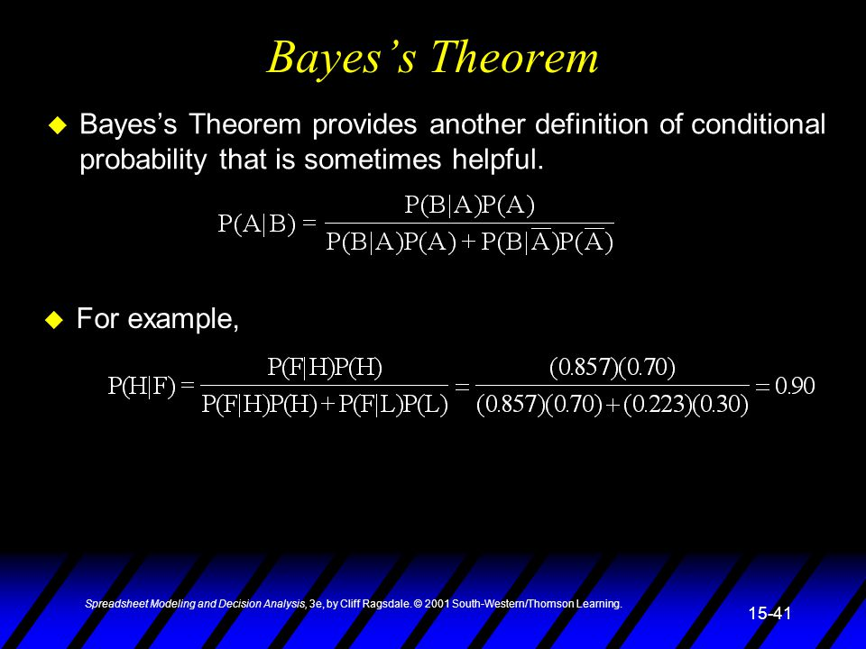 Spreadsheet Modeling and Decision Analysis, 3e, by Cliff Ragsdale. © 2001 South-Western/Thomson Learning. 15-41 Bayes's Theorem u Bayes's Theorem prov