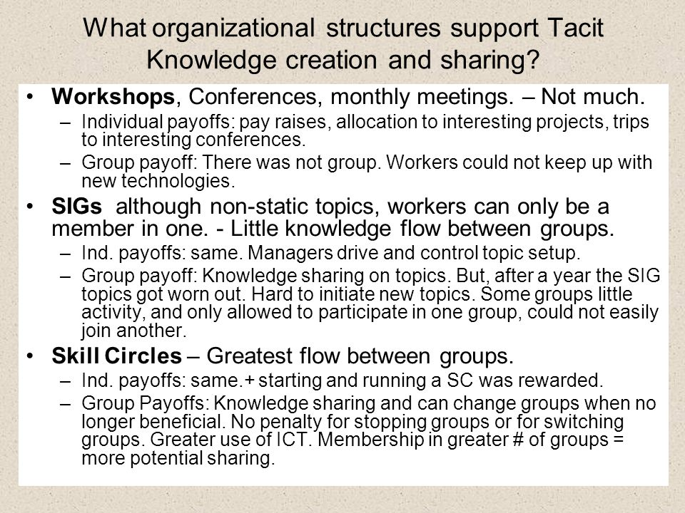 What organizational structures support Tacit Knowledge creation and sharing.