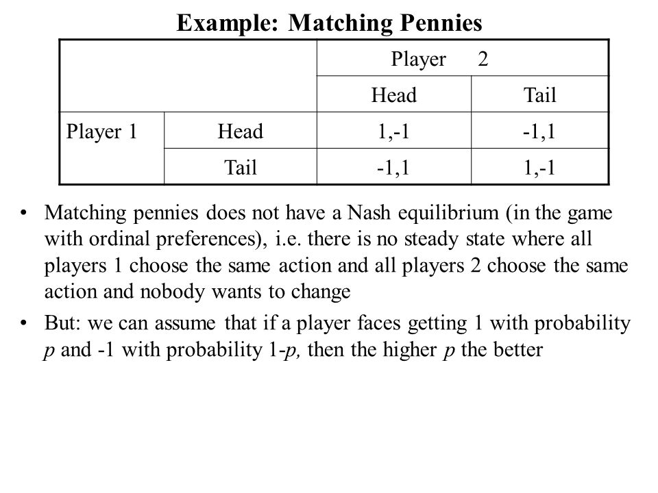 Example: Matching Pennies Player2 HeadTail Player 1Head1,-1-1,1 Tail-1,11,-1 Matching pennies does not have a Nash equilibrium (in the game with ordinal preferences), i.e.