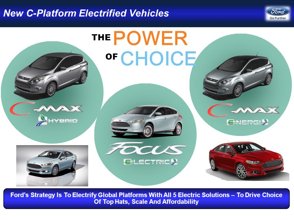 POWER THE CHOICE OF Ford's Strategy Is To Electrify Global Platforms With All 5 Electric Solutions – To Drive Choice Of Top Hats, Scale And Affordability New C-Platform Electrified Vehicles