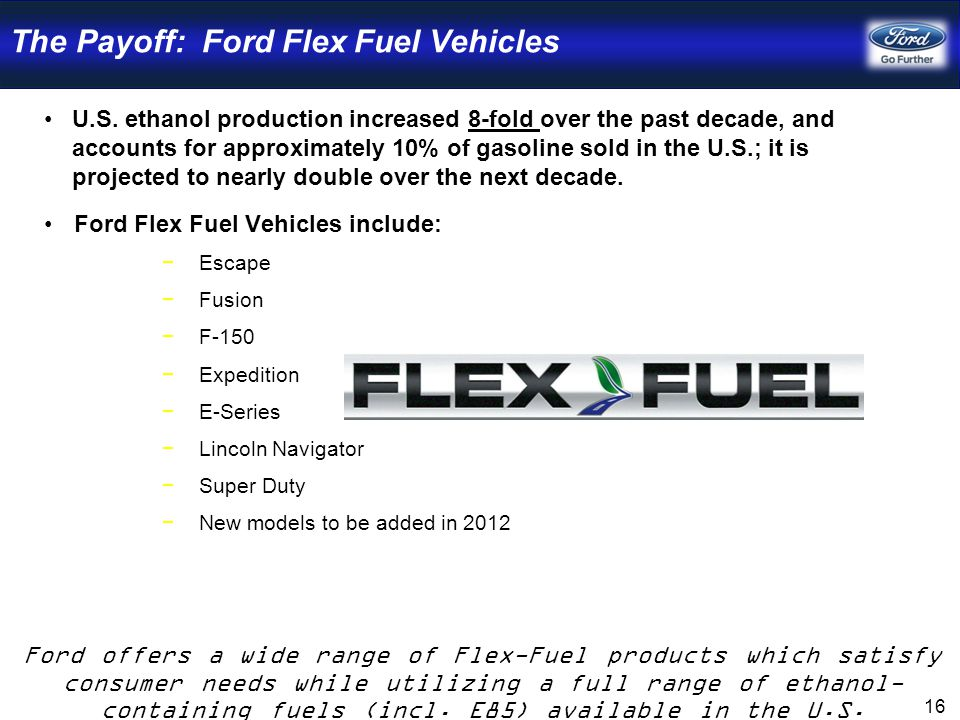 The Payoff: Ford Flex Fuel Vehicles U.S.