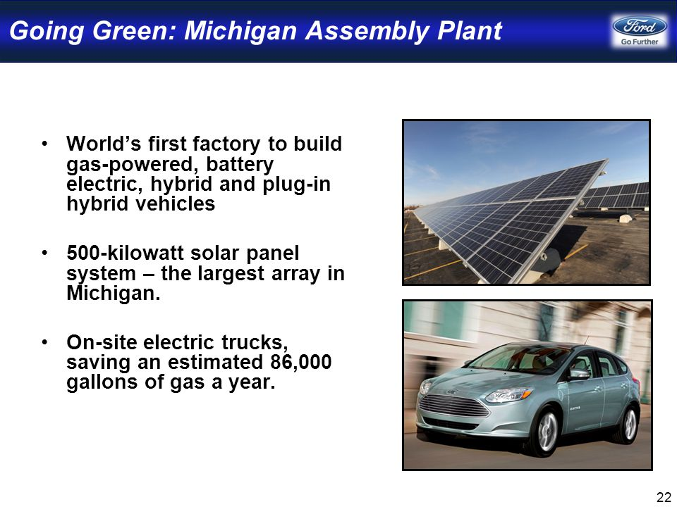 22 Going Green: Michigan Assembly Plant World's first factory to build gas-powered, battery electric, hybrid and plug-in hybrid vehicles 500-kilowatt solar panel system – the largest array in Michigan.