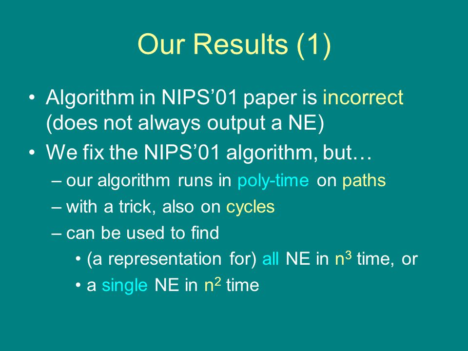 Our Results (1) Algorithm in NIPS'01 paper is incorrect (does not always output a NE) We fix the NIPS'01 algorithm, but… –our algorithm runs in poly-time on paths –with a trick, also on cycles –can be used to find (a representation for) all NE in n 3 time, or a single NE in n 2 time