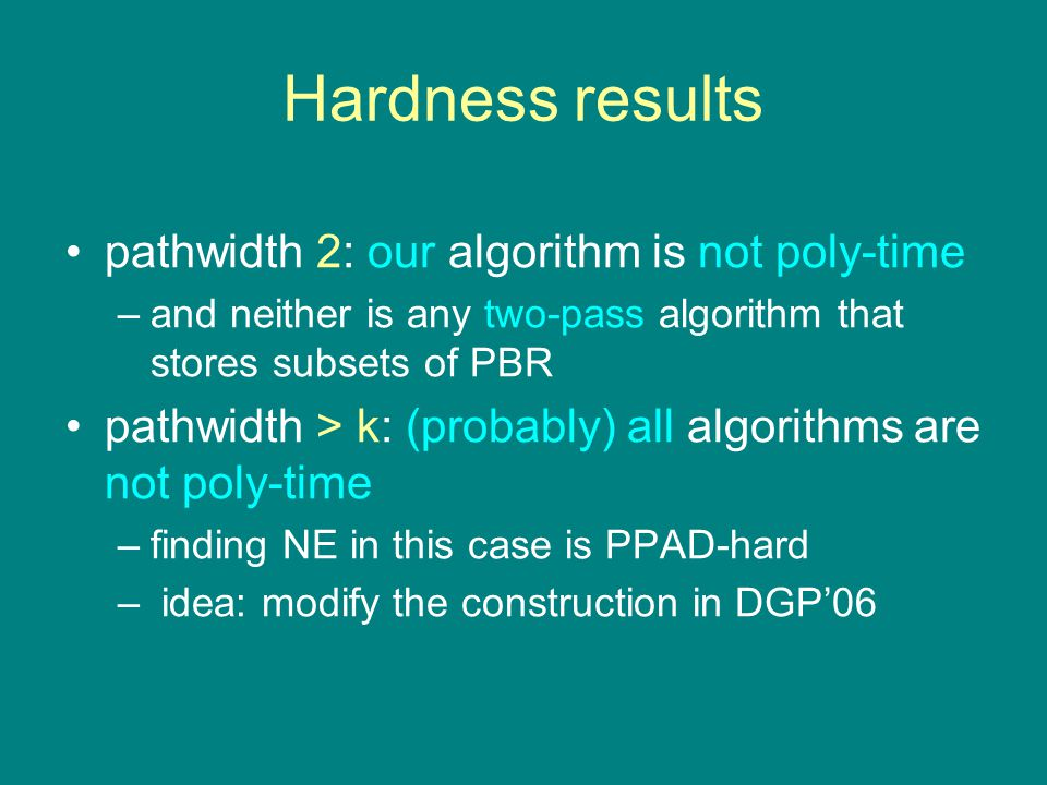 Hardness results pathwidth 2: our algorithm is not poly-time –and neither is any two-pass algorithm that stores subsets of PBR pathwidth > k: (probably) all algorithms are not poly-time –finding NE in this case is PPAD-hard – idea: modify the construction in DGP'06