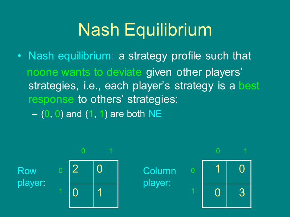 Nash Equilibrium 20 01 1 0 0 3 Row player: Column player: 0 1 0101 0 1 Nash equilibrium: a strategy profile such that noone wants to deviate given other players' strategies, i.e., each player's strategy is a best response to others' strategies: –(0, 0) and (1, 1) are both NE