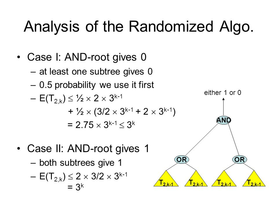 Analysis of the Randomized Algo. Case I: AND-root gives 0 –at least one subtree gives 0 –0.5 probability we use it first –E(T 2,k )  ½  2  3 k-1 +