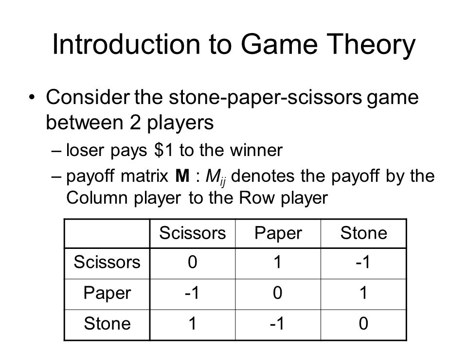 Introduction to Game Theory Consider the stone-paper-scissors game between 2 players –loser pays $1 to the winner –payoff matrix M : M ij denotes the