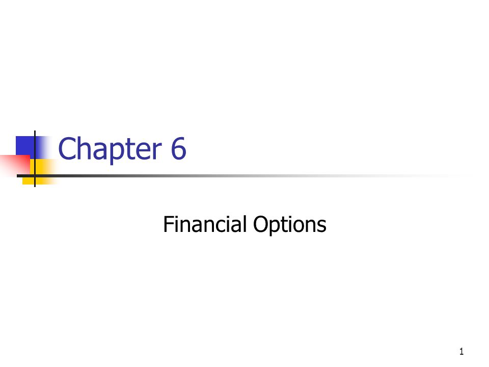 1 Chapter 6 Financial Options