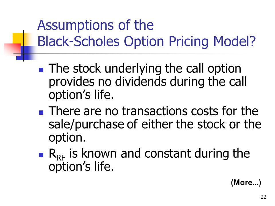 22 Assumptions of the Black-Scholes Option Pricing Model.