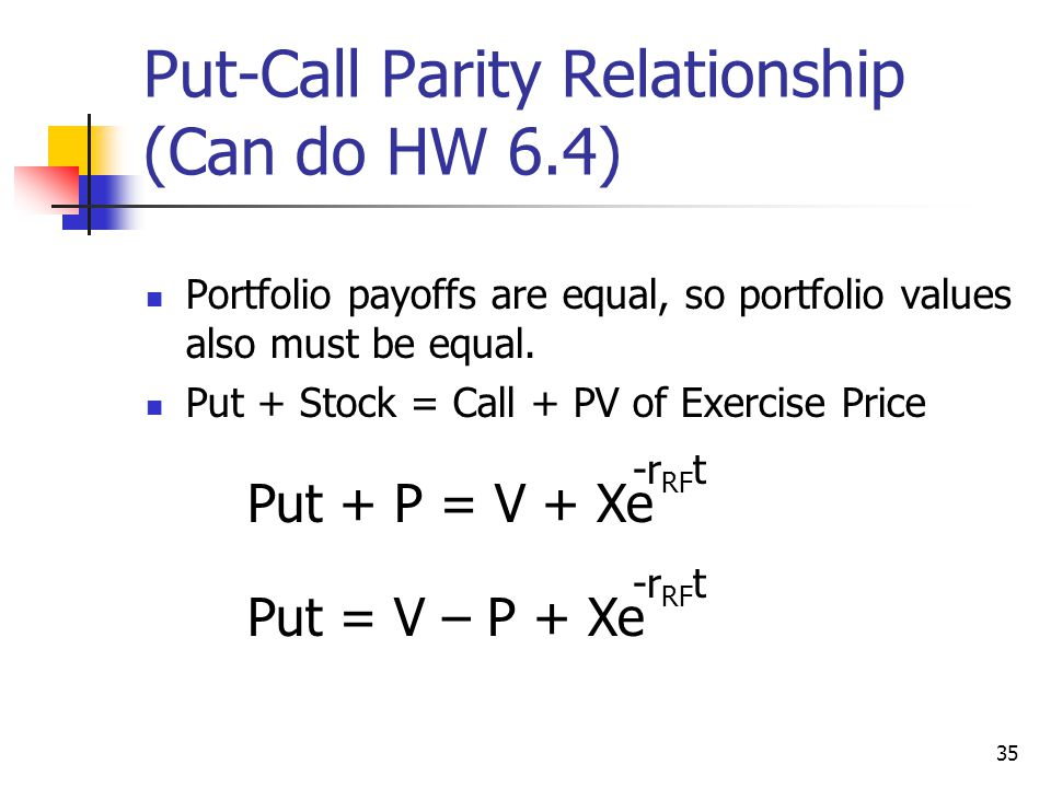 35 Put-Call Parity Relationship (Can do HW 6.4) Portfolio payoffs are equal, so portfolio values also must be equal.