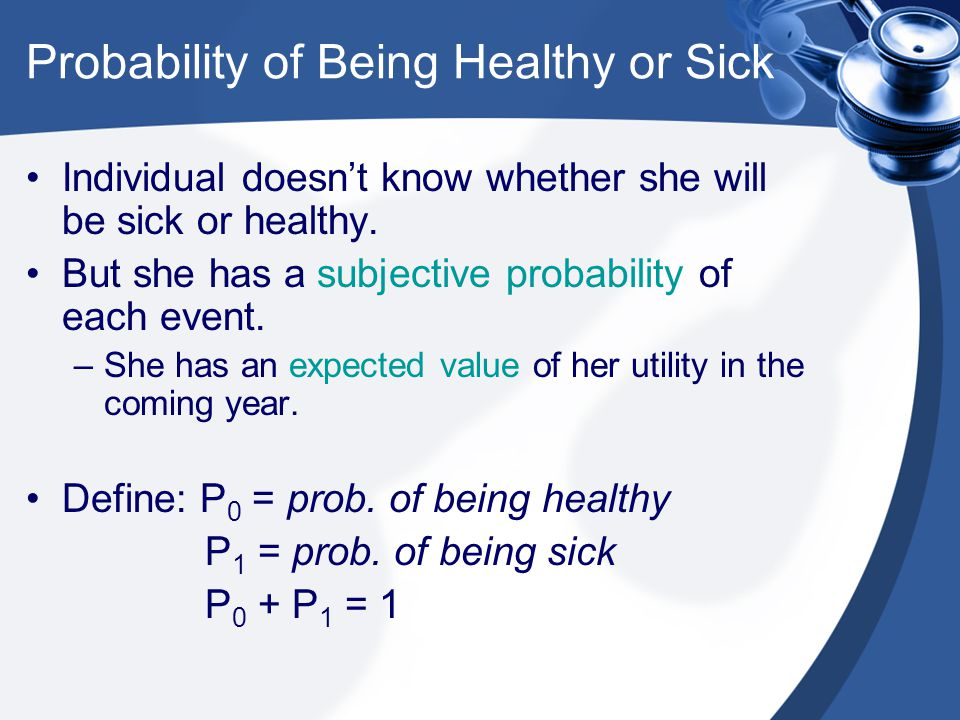 Probability of Being Healthy or Sick Individual doesn't know whether she will be sick or healthy.