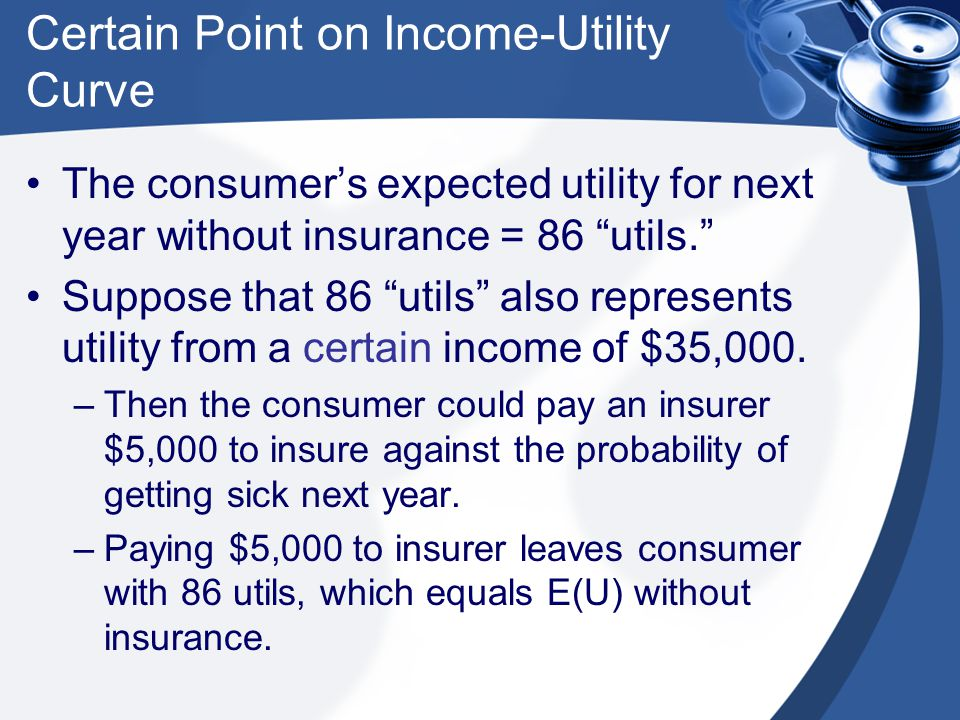 Certain Point on Income-Utility Curve The consumer's expected utility for next year without insurance = 86 utils. Suppose that 86 utils also represents utility from a certain income of $35,000.