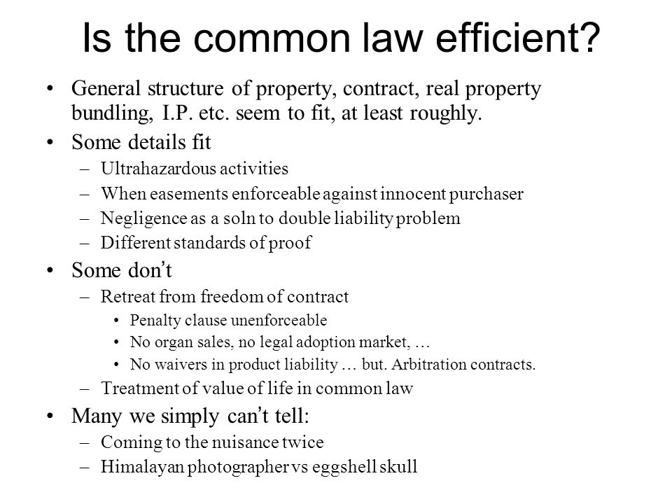 Is the common law efficient. General structure of property, contract, real property bundling, I.P.