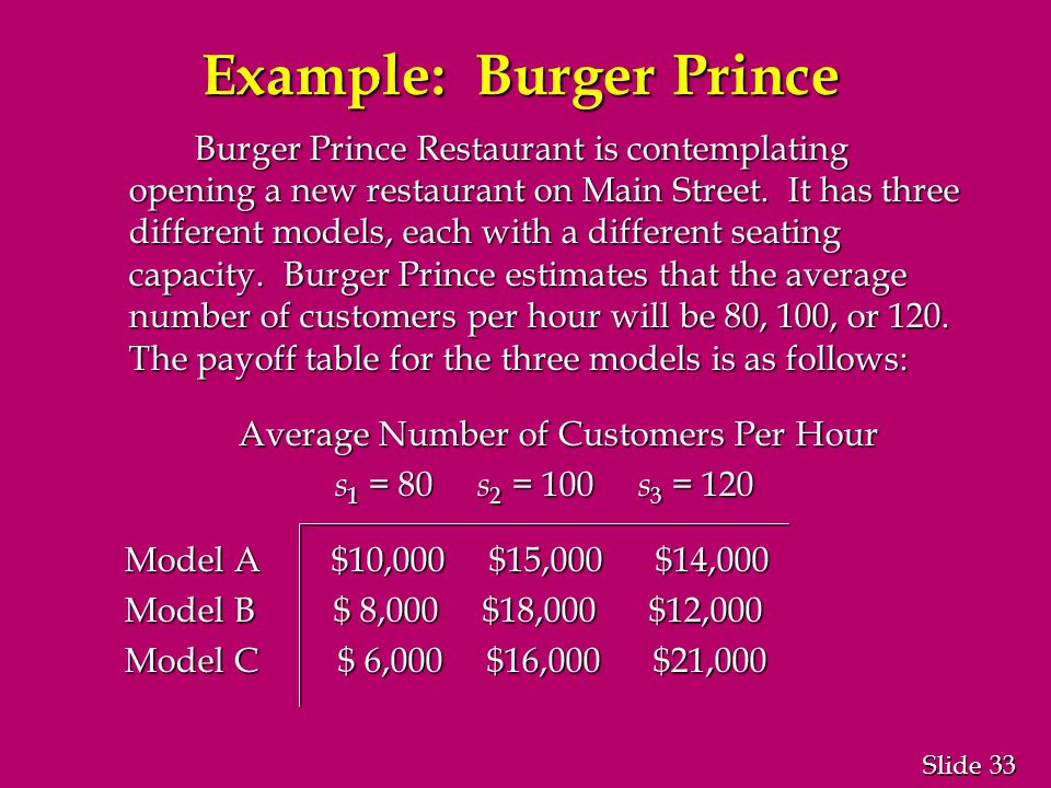 33 Slide Example: Burger Prince Burger Prince Restaurant is contemplating opening a new restaurant on Main Street.