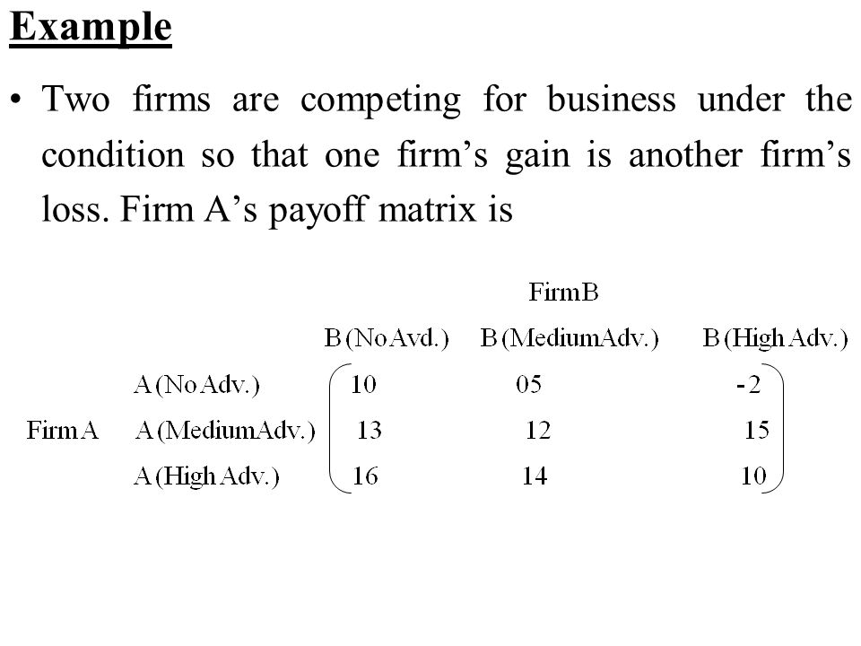 Example Two firms are competing for business under the condition so that one firm's gain is another firm's loss. Firm A's payoff matrix is